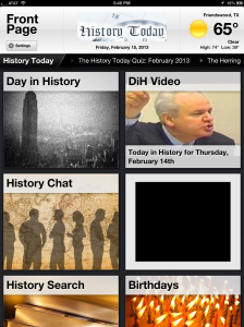 History Today Main Screen